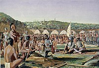 Jacques Cartier at Hochelaga. Arriving in 1535, Cartier was the first European to visit the area.