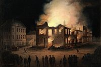 Political protests from Tories led to the burning of the Parliament Buildings in Montreal in 1849.