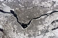 The island of Montreal at the confluence of the Saint Lawrence and Ottawa rivers.