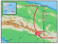 Map showing the crash site in Papua