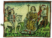A depiction of an ancient democratic ritual of Slovene-speaking tribes, which took place on the Prince's Stone in Slovene until 1414.