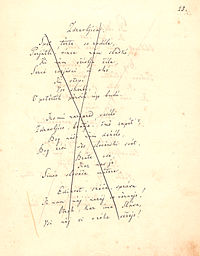 """""""Zdravljica"""" (A Toast; part) with rejection mark from Austrian censorship (due to potential revolutionary content); the music of Zdravljica is now the Slovenian national anthem."""