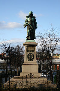 The sculpture of the poet Valentin Vodnik (1758–1819) was created by Alojz Gangl in 1889 as part of Vodnik Monument, the first Slovene national monument.