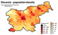 Population density in Slovenia by municipality. The four main urban areas are visible: Ljubljana and Kranj (center), Maribor (northeast) and the Slovene Istria (southwest).