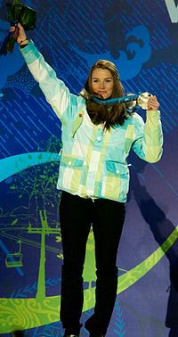 Alpine skier Tina Maze, a double Olympic gold medalist and the overall winner of the 2012–13 World Cup season