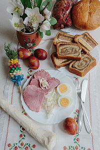 Potica as part of traditional Slovenian Easter breakfast