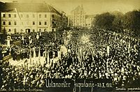 The proclamation of the State of Slovenes, Croats and Serbs at Congress Square in Ljubljana on 20 October 1918