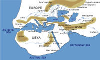 Reconstruction of the Oikumene (inhabited world) as described by Herodotus in the 5th century BC.