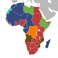 Areas controlled by European powers in 1939. British (red) and Belgian (Orange) colonies fought with the Allies. Italian (green) with the Axis. French colonies (dark blue) fought alongside the Allies until the Fall of France in June 1940. Vichy was in control until the Free French prevailed in late 1942. Portuguese (brown) and Spanish (teal) colonies remained neutral.