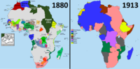 Comparison of Africa in the years 1880 and 1913