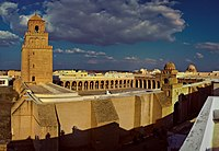 The Great Mosque of Kairouan (also known as the Mosque of Uqba), first built in 670 by the Umayyad general Uqba Ibn Nafi, is the oldest and most prestigious mosque in the Maghreb and North Africa, located in the city of Kairouan, Tunisia