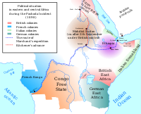 Central and east Africa, 1898, during the Fashoda Incident.