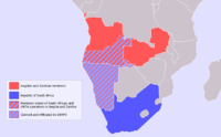 South African-occupied South West Africa (1915-1990) and maximum extent of South African and UNITA operations in Angola and Zambia during the Angolan Civil War