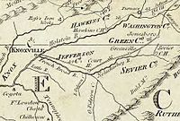 The Washington District, as it appeared on Abraham Bradley's 1796 postal map