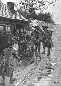 Howard Pyle's depiction of a scout warning the residents of Knoxville of an approaching hostile Indian force in 1793