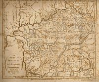 """Low's map, """"The State of Kentucky and adjoining Territories."""" The Southwest Territory did not yet include West Tennessee, which was still under control of Indians. From Low's Encyclopaedia"""