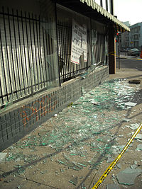 During hours of the unrest, shops were vandalized in Downtown Oakland