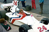 Hunt in the Hesketh at the 1975 British Grand Prix