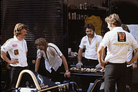 Hunt's Wolf WR9 being prepared at the 1979 Monaco Grand Prix