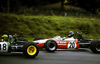 Hunt driving a Brabham BT21 in the Guards Trophy F3 race at Brands Hatch, 1969