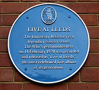 A blue plaque at Leeds University, where Live at Leeds was recorded