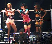 Spears and her dancers introducing her band in London.