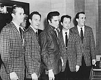 Presley with his longtime vocal backup group, the Jordanaires, March 1957