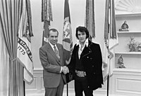 Presley meets U.S. President Richard Nixon in the White House Oval Office, December 21, 1970