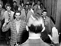 Presley being sworn into the U.S. Army at Fort Chaffee, Arkansas, March 24, 1958