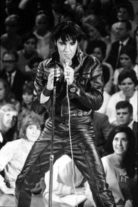 """The '68 Comeback Special produced """"one of the most famous images"""" of Presley. Taken on June 29, 1968, it was adapted for the cover of Rolling Stone in July 1969."""