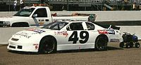 Robbie Faggart in Robinson's car at the 2001 CVS Pharmacy 200 at New Hampshire International Speedway.