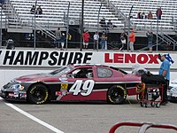 Kertus Davis in Robinson's car at the 2008 Camping World RV Sales 200 at New Hampshire Motor Speedway. Davis frequently started and parked that season. He finished 35th in this race, claiming clutch issues.