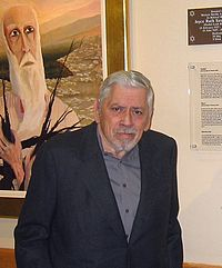 """Sherman dedicating a print of his painting, """"Sacrifice"""" (Behind) to the Western Marble Arch Synagogue in London in 2004. Officiating was Dr. Jonathan Sacks, Chief Rabbi of the British Empire and Commonwealth."""