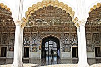 The Sheesh Mahal is embellished with reflective glass tile work.