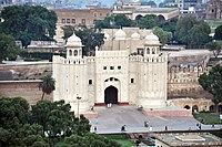 The fort, as seen from the northeast minaret of the Badshahi Mosque.