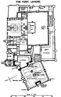 Layout of the Lahore Fort in 1911