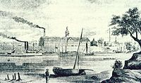 Colt's Armory from an 1857 engraving viewed from the east