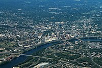 Downtown Hartford from the air, 2016