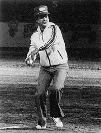 Twitty throwing out the first pitch at the first Nashville Sounds game on April 26, 1978
