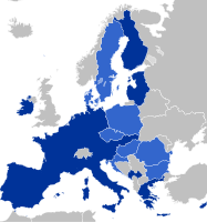France is part of a monetary union, the Eurozone (dark blue), and of the European Single Market (lighter blue).