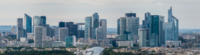 La Défense (as seen from the Eiffel Tower) was in 2017 ranked by Ernst & Young as the leading Central business district in continental Europe, and the fourth in the world.