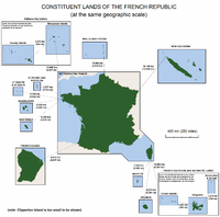 The lands making up the French Republic, shown at the same geographic scale