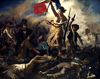 """Eugène Delacroix's Liberty Leading the People (1830) portrays the July Revolution using the stylistic views of Romanticism. Since Liberty is part of the motto """"Liberté, égalité, fraternité"""", as the French put it, this painting has become the primary symbol of the French Republic."""