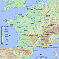 A relief map of Metropolitan France, showing cities with over 100,000 inhabitants