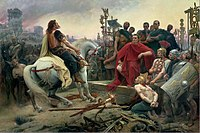 Vercingetorix surrenders to Caesar during the Battle of Alesia. The Gallic defeat in the Gallic Wars secured the Roman conquest of the country.