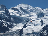 Mont Blanc, the highest summit in Western Europe, marks the border with Italy.