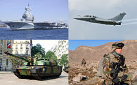 Examples of France's military. Clockwise from top left: nuclear aircraft carrier Charles de Gaulle; a Dassault Rafale fighter aircraft; French Chasseurs Alpins patrolling the valleys of Kapisa province in Afghanistan; a Leclerc tank