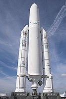 France is in 2020 the biggest national financial contributor to the European Space Agency, which conceived the Ariane rocket family, launched from French Guiana (Ariane 5 pictured).
