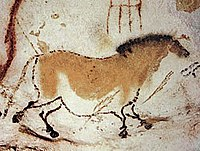 """One of the Lascaux paintings: a horse – approximately 17,000 BC. Lascaux is famous for its """"exceptionally detailed depictions of humans and animals""""."""