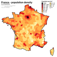 Population density in France by arrondissement. The main urban areas are visible, notably the Paris (center-north), Lille (north), Marseille (southeast) and Lyon (center-southeast) urban areas.